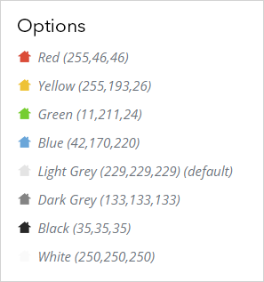 Icon color options as listed in the app